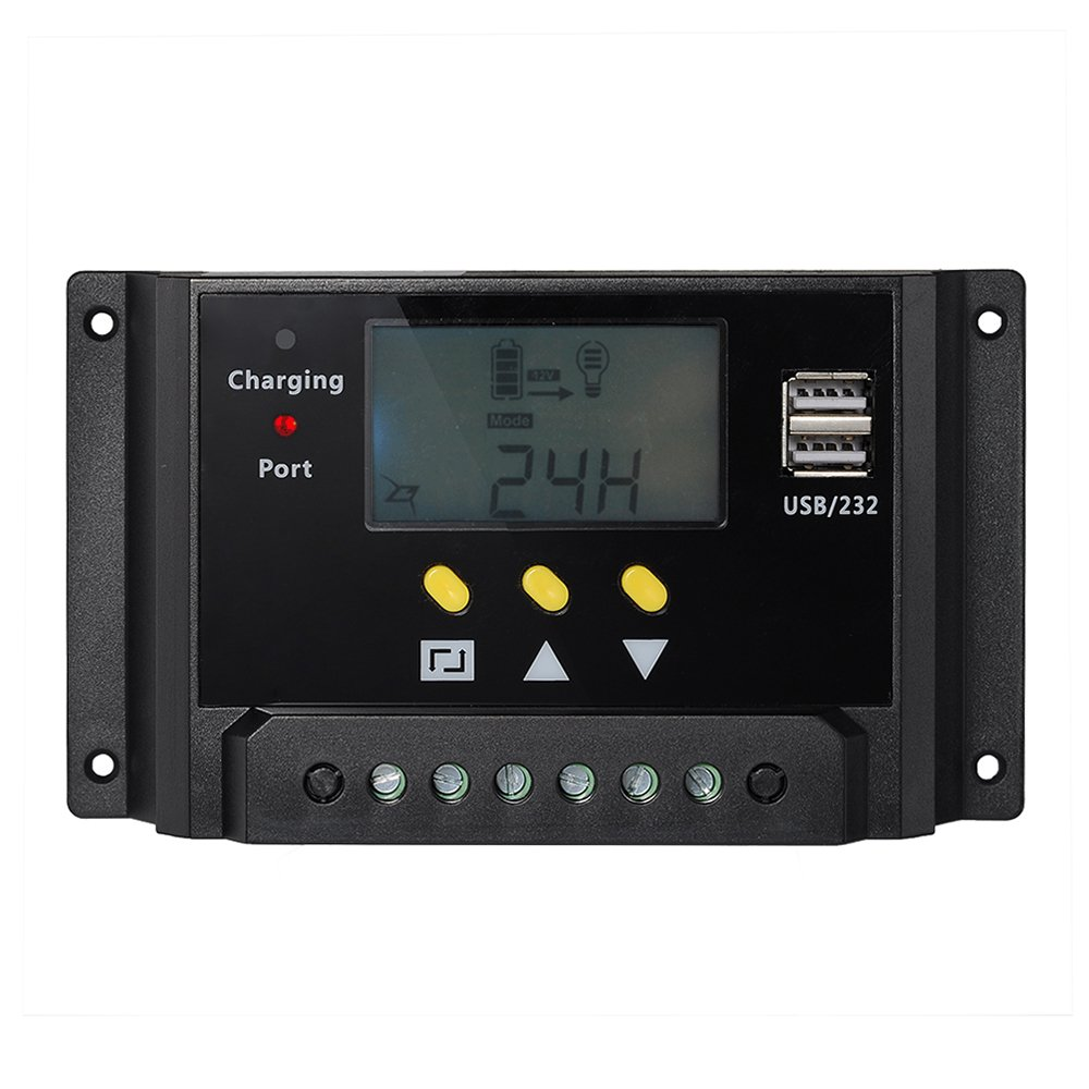 BlueFire LCD Digital Display 30A Solar Panel Regulator Charge Controller 12V/24V 360W/720W with Dual USB