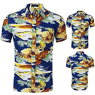 NUWFOR Men's Fashion Printed Blouse Casual Short Sleeve Slim Shirts Tops