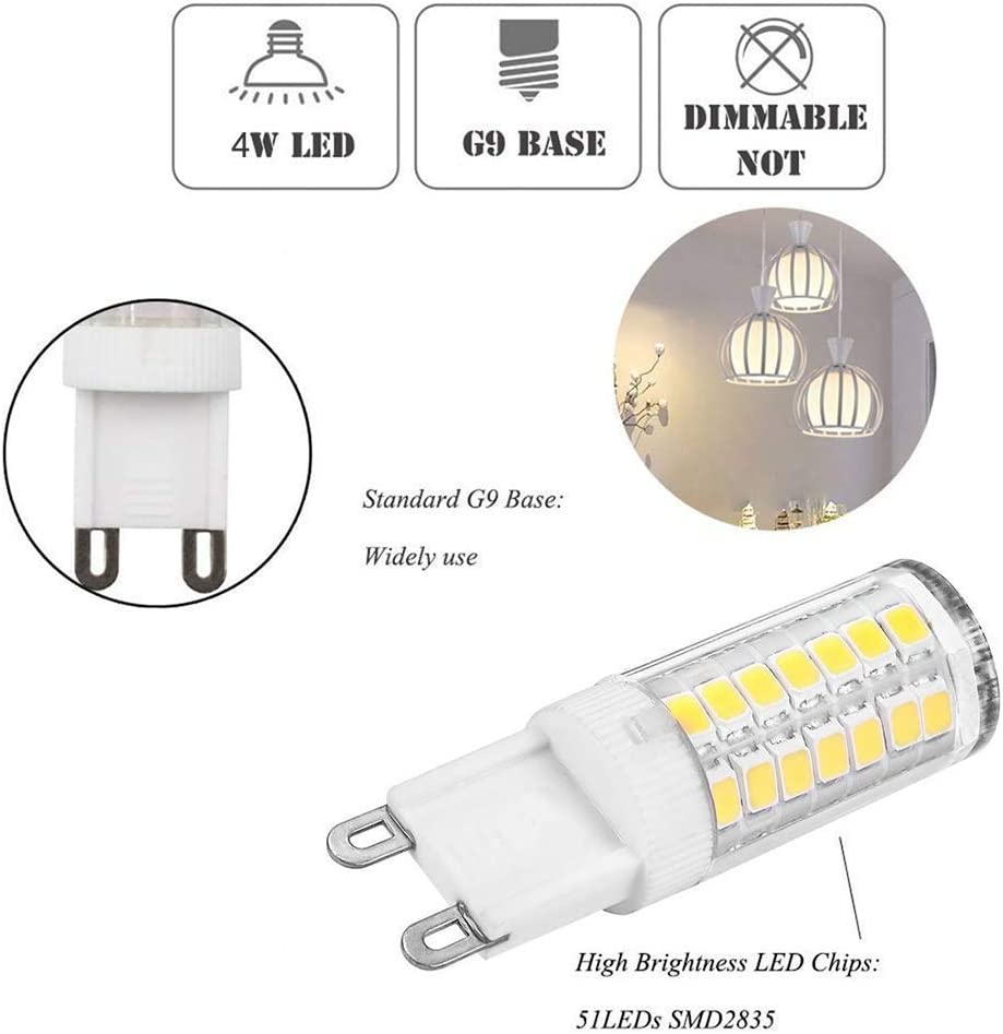 360 Degree LED G9 Corn Crystal Light for Livingroom Bedroom Lighting Daylight 4 Watts Replacement for 40 Watts Halogen G9 Bulb Pack of 5 Daylight 6000K G9 LED Dimmable Light g9 52cw