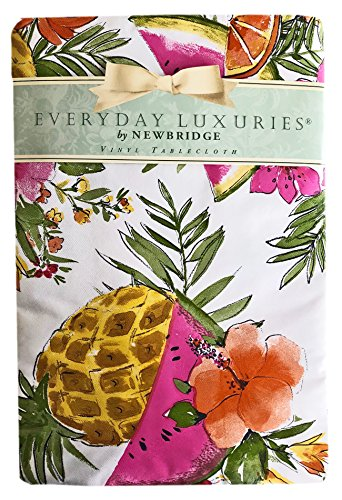 Pineapple Tropical Floral Print Vinyl Flannel Backed Tablecloth, Indoor/Outdoor Tablecloth for Picnic, Barbeque, Patio and Kitchen Dining, (60 Inch x 120 Inch Oblong/Rectangle) by Newbridge