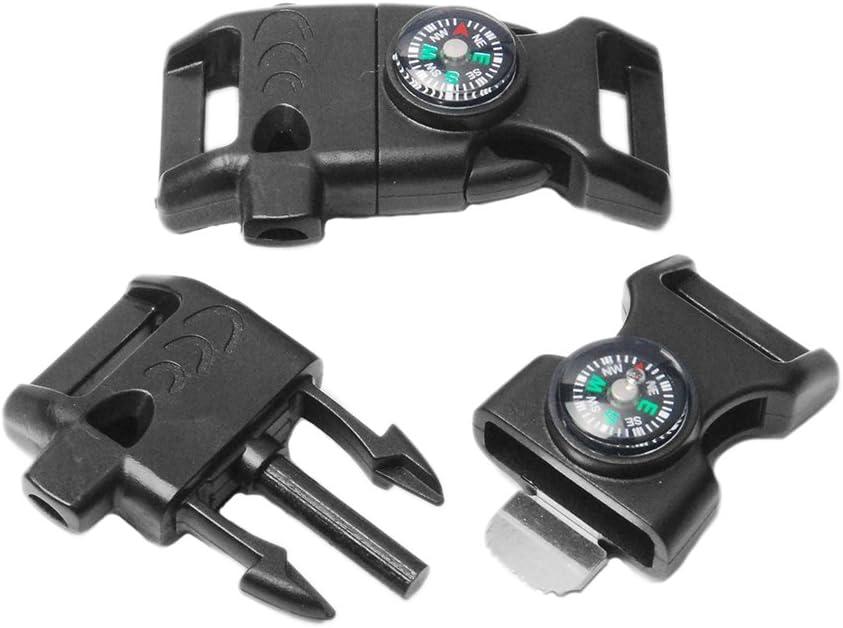 Lot de 5Noir 5/20,3cm Boussole Flint allume-feu Grattoir Sifflet Plastique Paracord Bracelet Camping survie d'urgence de voyage Kits # Flc158-fwc (Noir)