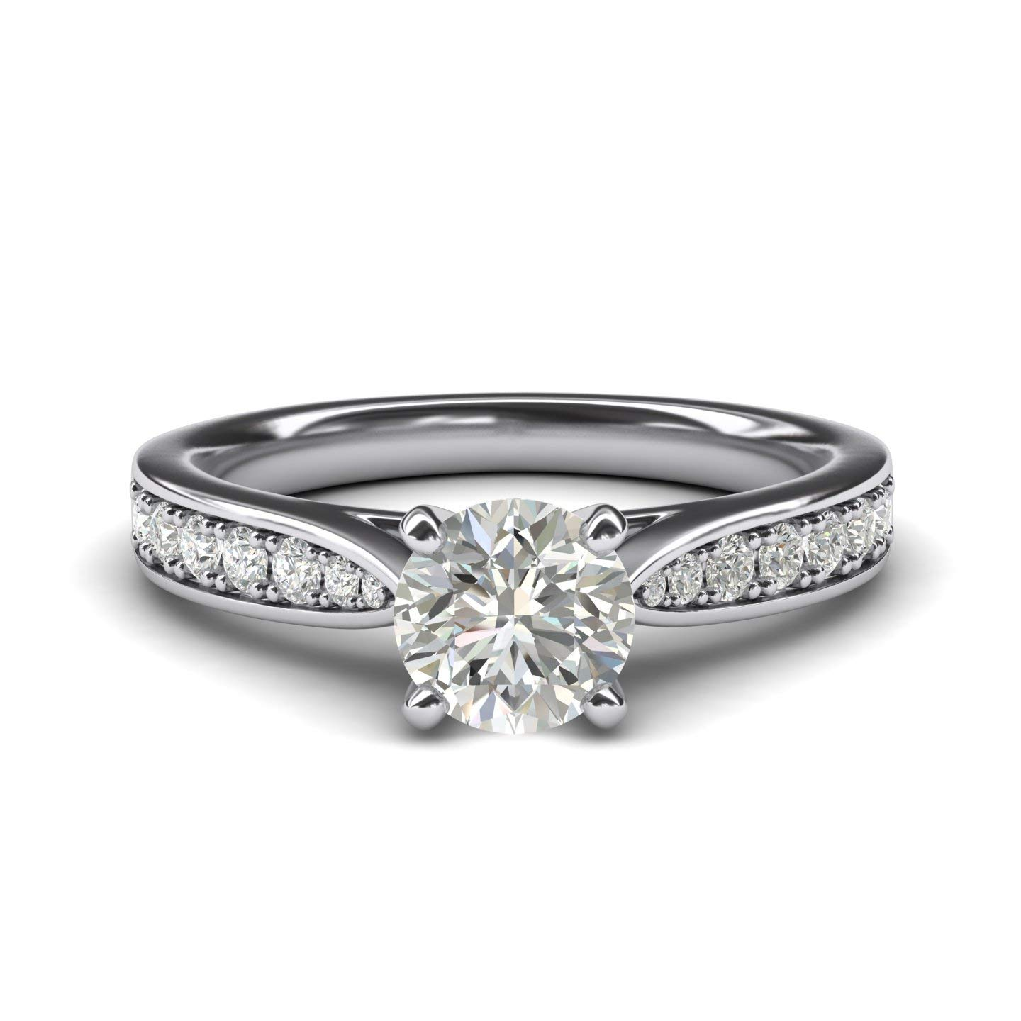 Women's Sterling Silver 1CT Classic 4-Prong Simulated Round Cut Diamond Engagement Ring With Graduated Side Stones (4)