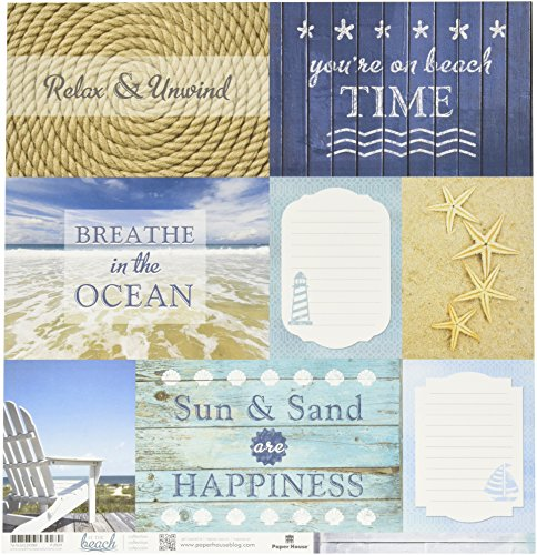 Paper House Productions P-2029E Double Sided Beach-Tags Paper (15 Pack), 12
