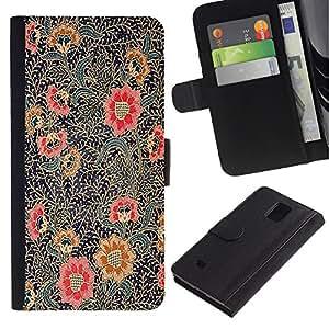 iBinBang / Flip Funda de Cuero Case Cover - Painting Oriental Art Red Black - Samsung Galaxy Note 4 SM-N910