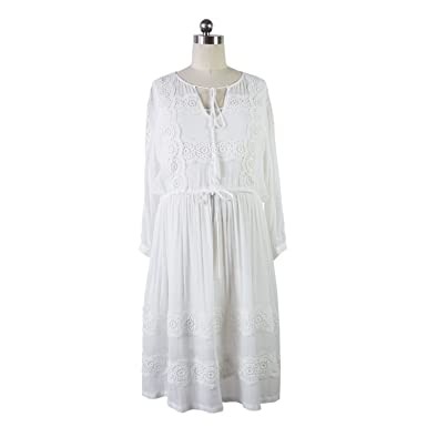 d45453fb21b7a8 2018 New Spring and Summer White Long Pregnant Women Dress Maternity Clothes ,White,M