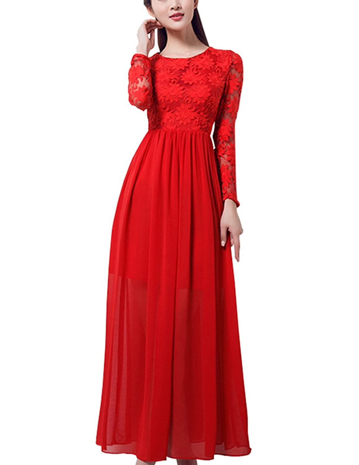 Great Bright Women's Column Long Sleeve Dress Red Red