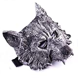 SUPOW Wolf Mask, Gray Creepy Costumes Wolf's Head Mask for Hallowee Masquerade