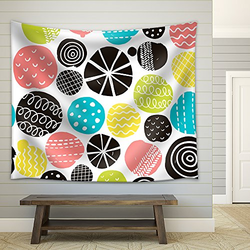 Vector Simple Scandinavian Pattern Vector Illustration with Cute Circles Fabric Wall