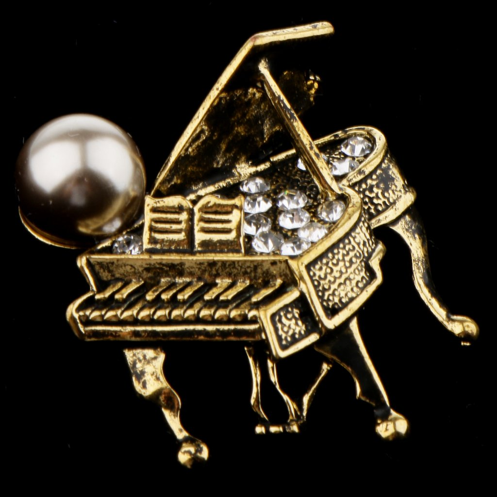 Fityle 2 Pieces Crystal Grand Piano Pin Brooch Corsage for Musician Music Teacher Gift