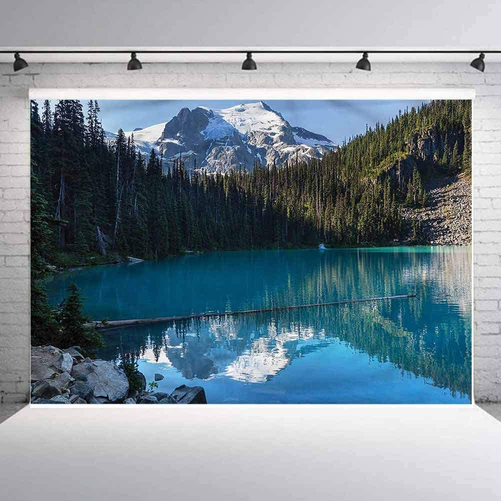 8x8FT Vinyl Wall Photography Backdrop,Landscape,Snowy Frozen Mountain Background for Party Home Decor Outdoorsy Theme Shoot Props