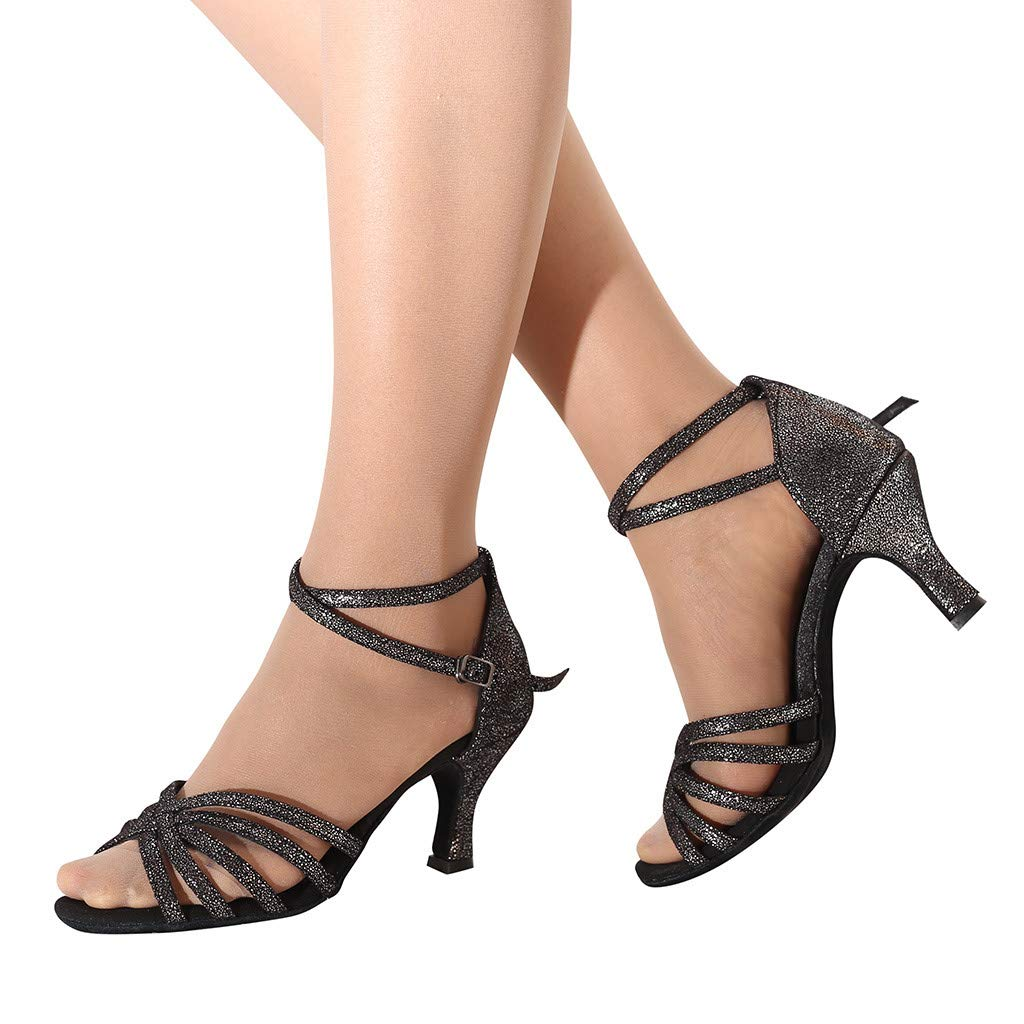 CCOOfhhc Women's Professional Latin Salsa Dance Shoes Satin Salsa Ballroom Wedding Dancing Shoes High Heel Sandals Black by CCOOfhhc (Image #2)