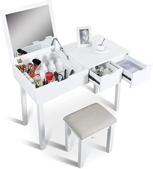Amazon Com Aodailihb Vanity Table With Flip Top Mirror Set Makeup