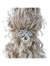Missgrace Bridal Bridesmaid Wedding Flower Hair Comb Clip Women Crystal Hair Clip Headpiece for Wedding Party and Special Occasions