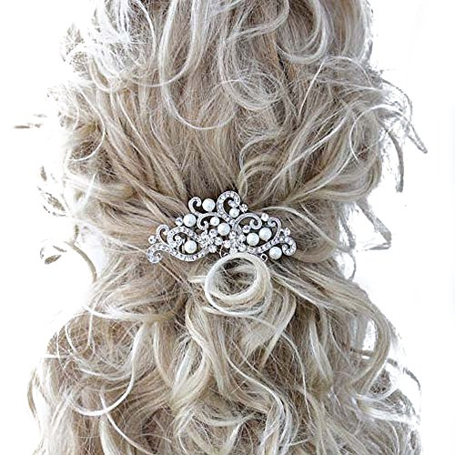 Missgrace Bridal Bridesmaid Wedding Flower Hair Comb Clip Women Crystal Hair Clip Headpiece for Wedding Party and Special Occasions (Silver)