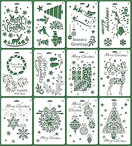 MAGICMAI Christmas Stencils Bullet Journal Stencil Template Santa Claus, Merry Christmas,Christmas Tree,Snowflakes,Bulbs,Reindeers for Card DIY Drawing Painting Craft Projects, 12 Picecs
