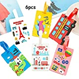 King&Pig 6pcs Cute 3D Cartoon Luggage Tags Suitcase Luggage Tags Travel Accessories Baggage Name Tags (travel)