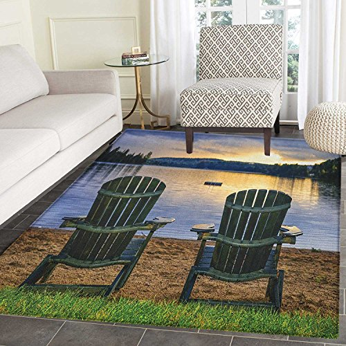 Provincial Living Room - Seaside Rugs for Bedroom Two Wooden Chairs on Relaxing Lakeside at Sunset Algonquin Provincial Park Canada Circle Rugs for Living Room 4'x6' Navy Green