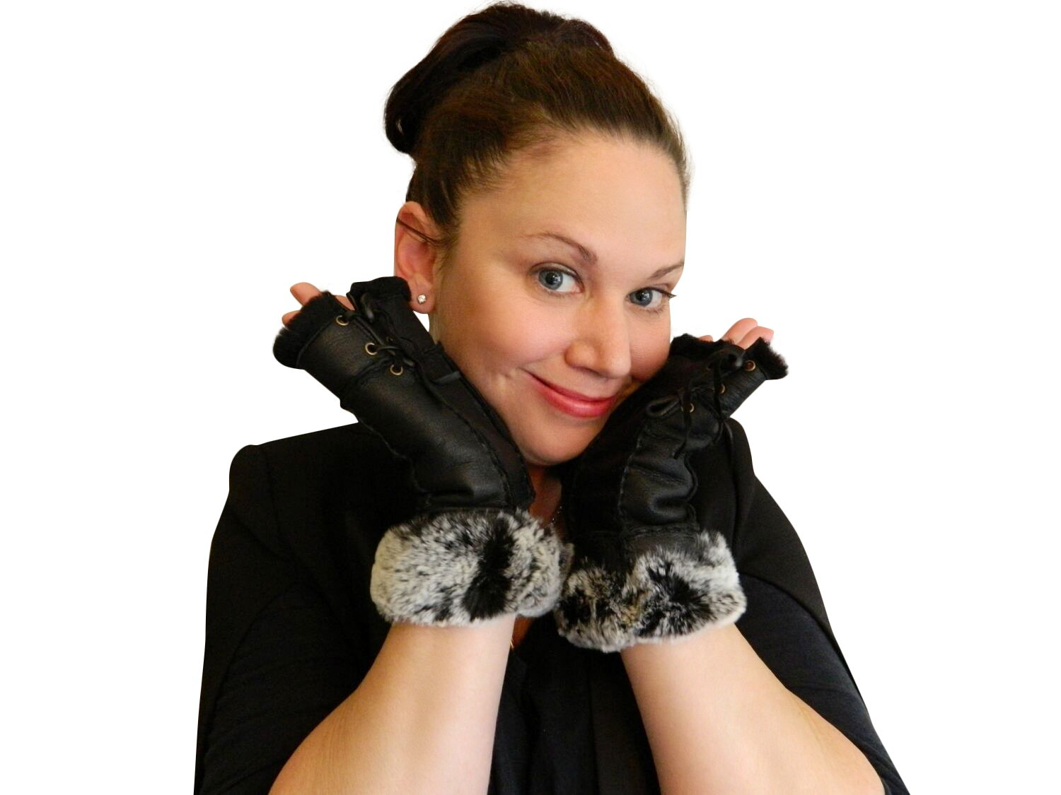 Women's Black Napa Leather Genuine Shearling Sheepskin Fingerless Gloves