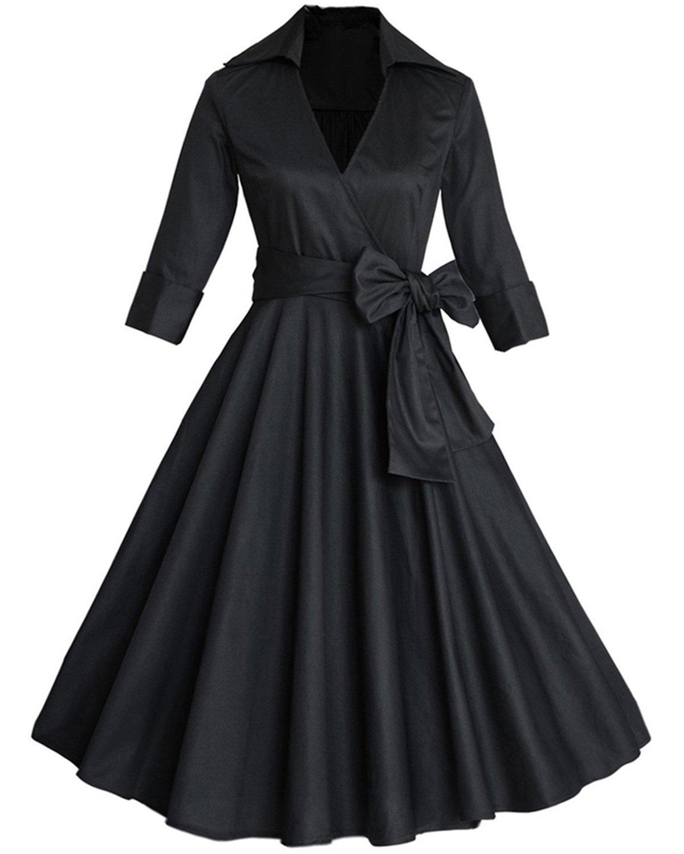 ZAFUL Mujer Vintage Años 50 Vestido de Fiesta Noche Cuello en V Rockabilly Dress Tallas Grande
