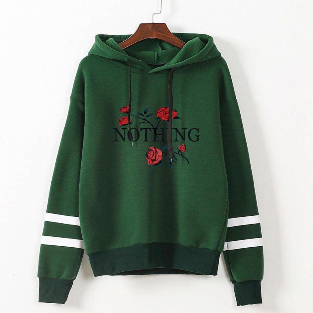 Rambling Women Long Sleeve Hoodie Nothing Letter Rose Print Striped Raglan Top Loose Fit Blouse Hoodie Sweatshirt