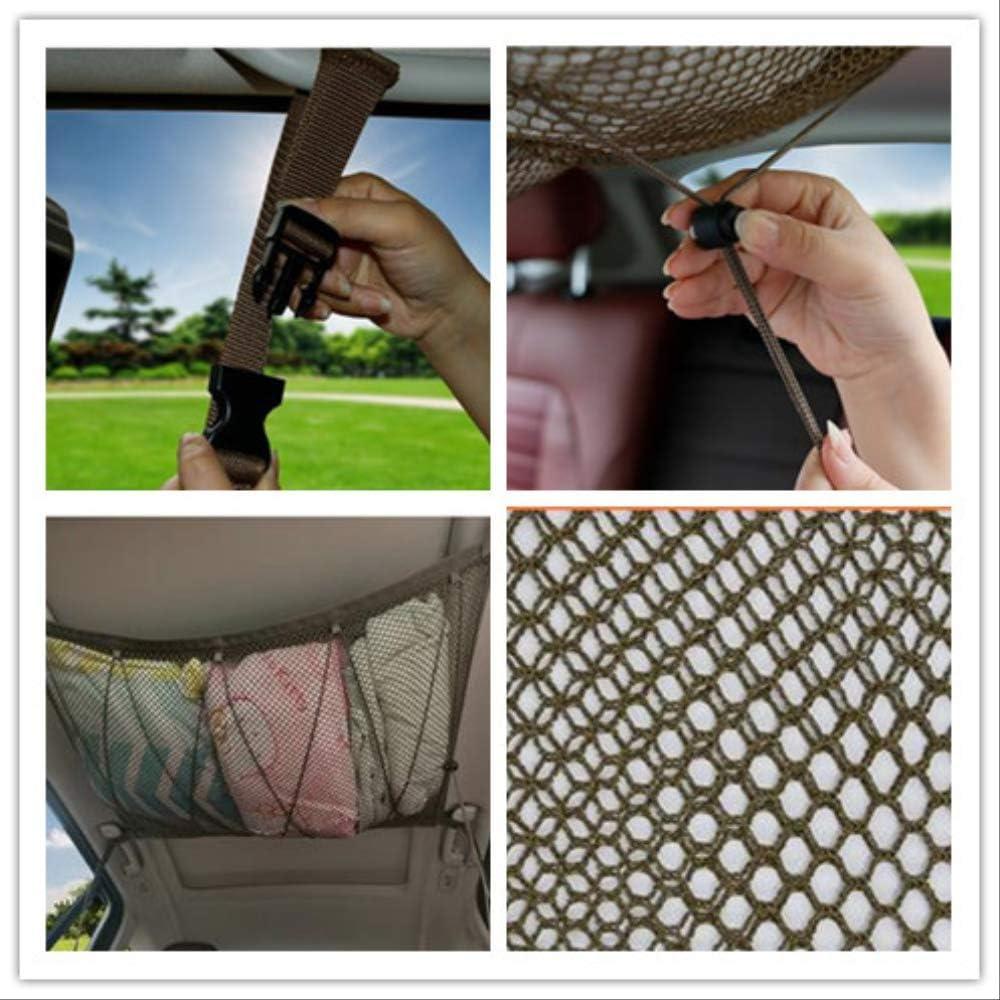 Car Ceiling Cargo Net Bag,Hanging Mesh Storage Organizer Pocket With Drawstring And Zipper For Suv Interior Roof,Khaki 90 65cm