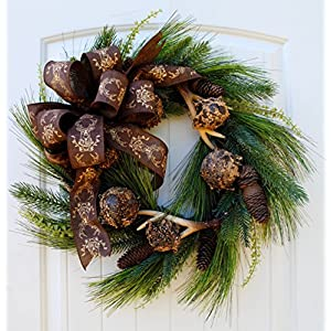 "Rustic Christmas Wreath with Antlers and Pine Cones on Pine Branch Base in 22"" Dia 74"