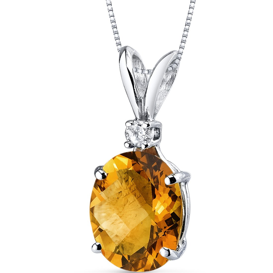 14 Karat White Gold Oval Shape 2.25 Carats Citrine Diamond Pendant