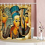 NYMB 3D Digital Printing Egyptian Queen King Prince on Papyrus Shower Curtain, Waterproof Polyester Fabric Ancient Egypt Bathroom Decorations, Bath Curtains Hooks Included, 69X70 inches