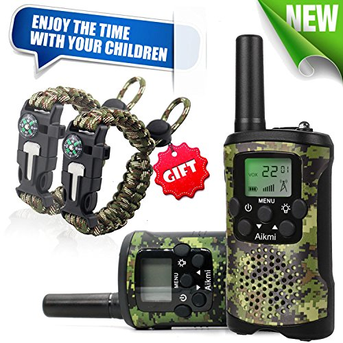 Walkie Talkies for Kids 22 Channel 2 Way Radio 3 Mile Long Range Ingenious Communication Gadget Preventing Myopia Toys Best Birthday Gifts for 6 year old Girls Fit Outdoor Adventure Game (Green camo)