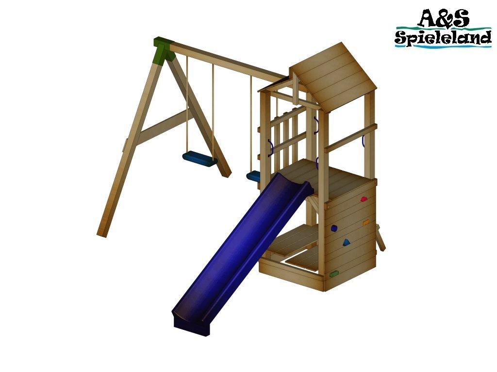 Spielturm CHRIS 2.0 Podesthöhe 120cm mit 2,4m Wellenrutsche Set 2