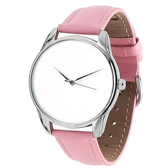 """Reloj elegante blanca pulsera de bajo consumo tipo piel rosa – Collection Simply White """""""