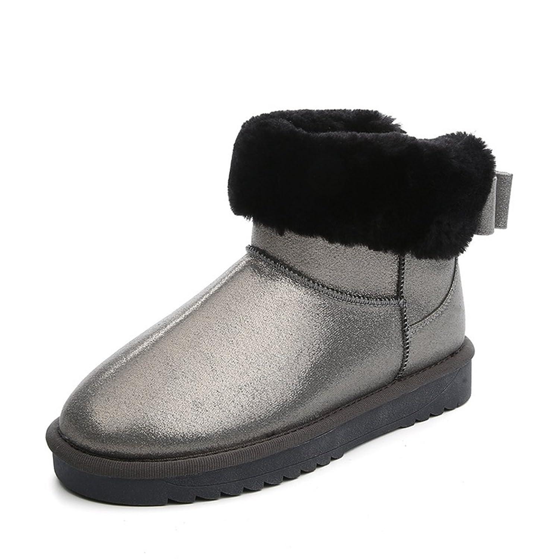 GIY Women Fashion Flat Ankle High Snow Boots Fur Lining Warm Waterproof Winter Bootie Slipper Shoes