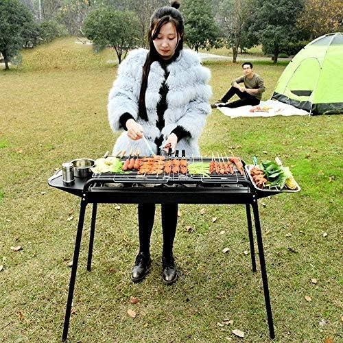Barbecue HZY Fumeur Grill, en Acier Inoxydable Portable Grill, Facile à Monter et Propre, Parfait for Camping en Plein air Pique-Nique Cuisiner Randonnée 82 * 32 * 77cm