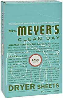 product image for Mrs. Meyer's Clean Day Dryer Sheets, Softens Fabric, Reduces Static, Cruelty Free Formula, Basil Scent, 80 Count
