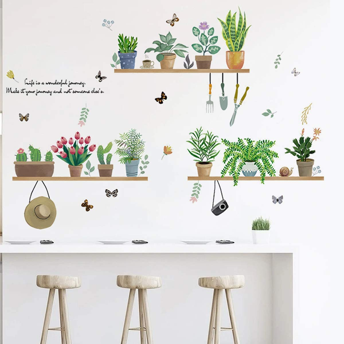 Green Plant Wall Decals Stickers for Kitchen Dinning Room Decor Potted Plants Cactus Nature Vinyl Sticker Peel and Stick Decal for Home Decoration