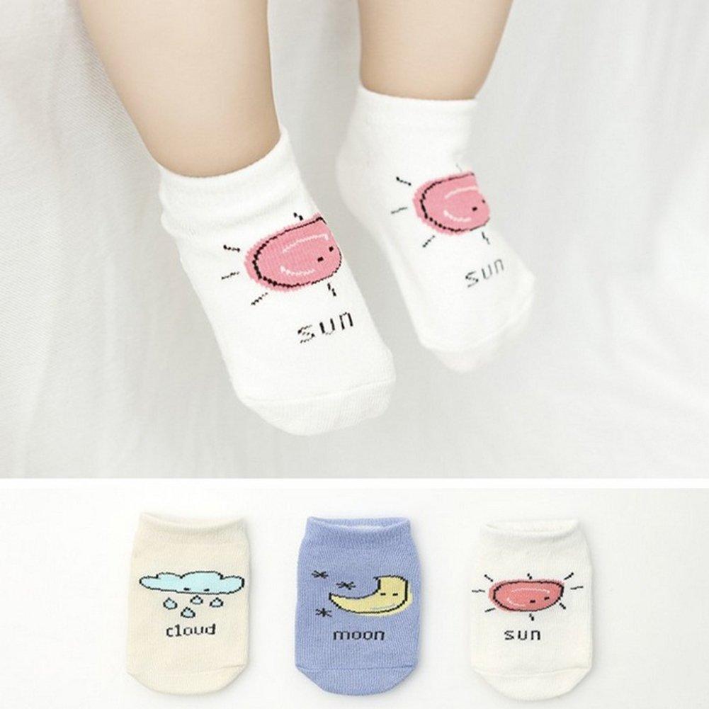 shengyuze Cute Cartoon Moon Cloud Sun Pattern Short Hose Infant Toddler Anti-slip Socks for Baby Girls Boys Todder