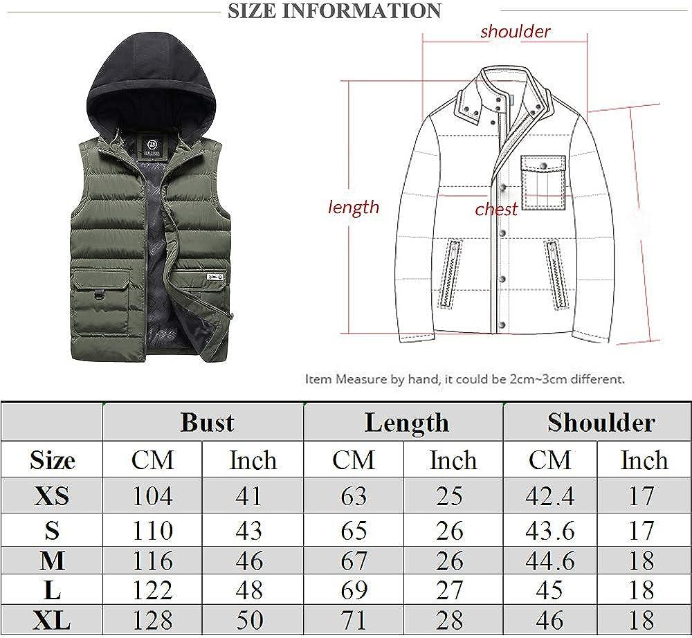 Mens Padded Gilets Bodywarmer Hooded Lightweight Sleeveless Jacket Down Puffer Waistcoat Quilted Vest Multi Pockets