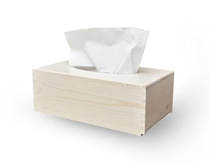 Dispensador de cosmética, caja de Kleenex, toallitas de madera de pino barnizada colour blanco