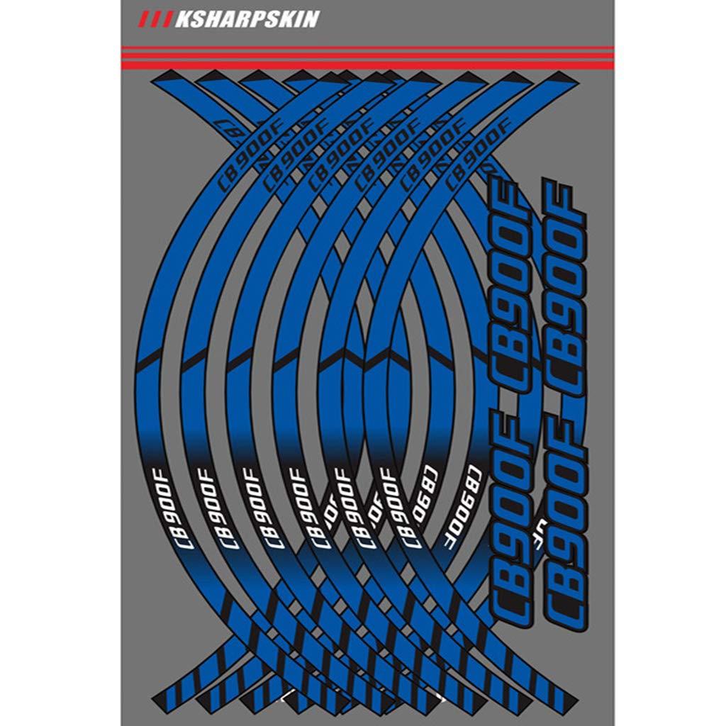 Motocicleta Llanta Rueda Calcoman/ías Pegatinas Para HRC Blanco+Azul