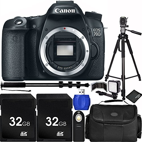 Canon EOS 70D DSLR Camera Body Bundle with Carrying Case and Accessory Kit (10 Items)