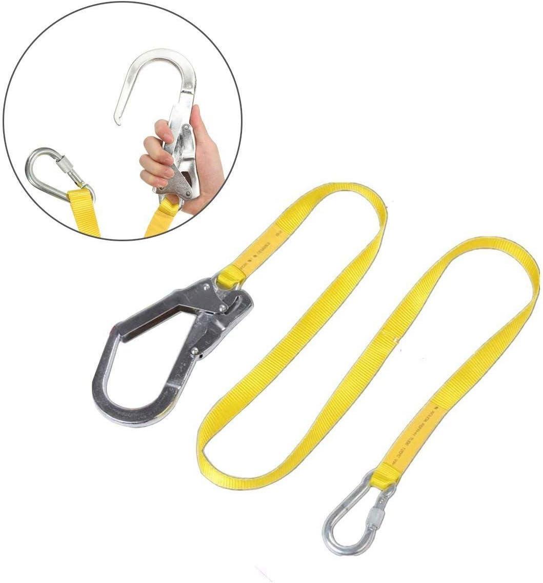 Cikuso Cordon de Seguridad, Cordon Cinturon arnes de Escalada al Aire Libre Cuerda de Proteccion contra caidas con Grandes Ganchos, carabinero, ...