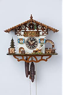 German Cuckoo Clock 1-day-movement Chalet-Style 10.00 inch - Authentic black