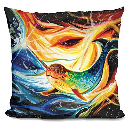 LiLiPi Space Narwhal Decorative Accent Throw Pillow [並行輸入品] B07N4MBSJ7
