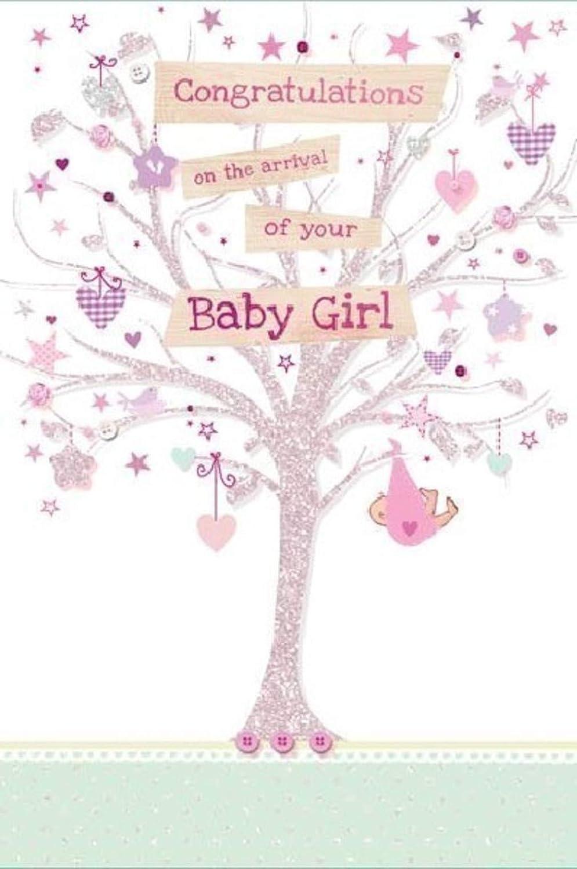 Tarjeta de felicitaci/ón para reci/én nacido tama/ño grande 15 x 23 cm dise/ño con texto en ingl/ésCongratulations On The Arrival of Your Baby Girl