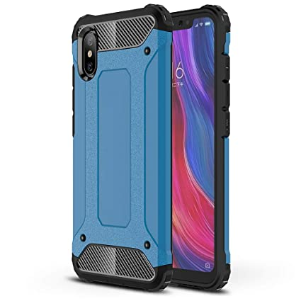 FLHTZS Funda Xiaomi Mi 8 Pro Carcasa Caja de teléfono móvil, combinación TPU + PC, Hermosa Mano de Obra(Azul)
