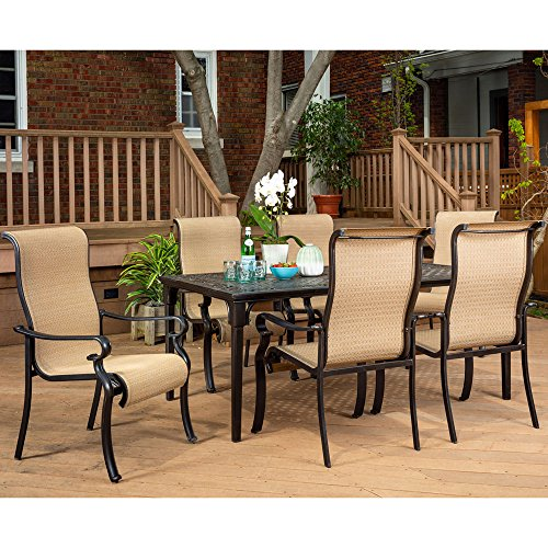 Brigantine 7-Piece Rust-Free Aluminum Outdoor Patio Dining Set with 6 Dining Chairs and Aluminum Rectangular Dining Table, -