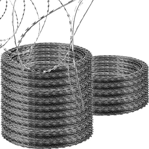 LOVSHARE 15 Rolls Razor Wire Each Coils 50 FT Ribbon Barbed 18