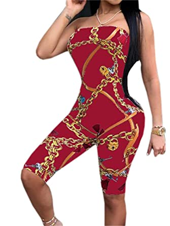 e14442af90 SELX-Women Gold Chain Printed Strapless Bodycon Short Jumpsuit Playsuit  Wine Red US XS