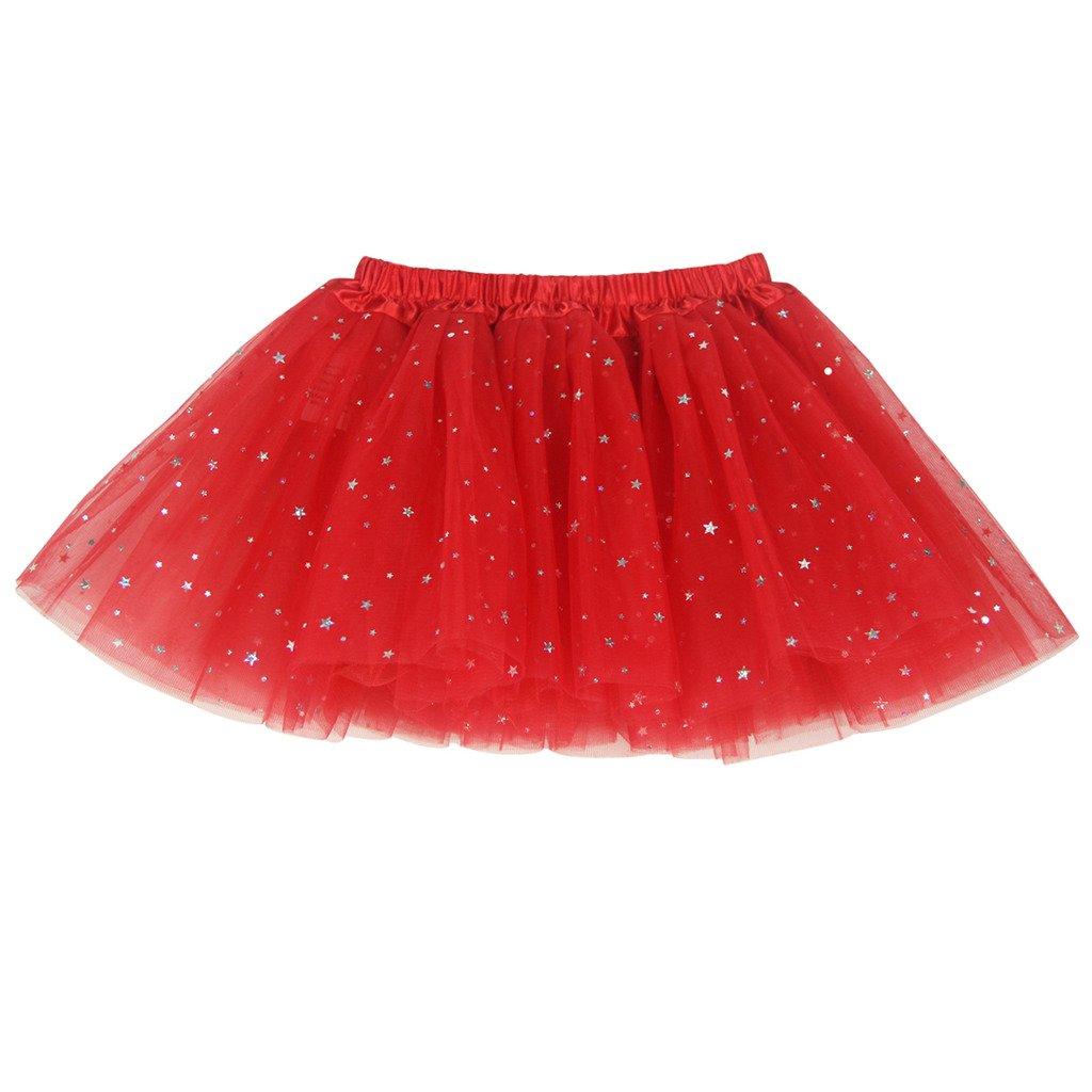 buenos ninos Girl's 3 Layers Star Sequin Ballet Skirt Princess Sparkling Dress-up Tutu