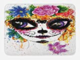 Ambesonne Sugar Skull Bath Mat, Cultural Celebration Mexican Traditional Make Up Girl Face in Watercolors Art, Plush Bathroom Decor Mat with Non Slip Backing, 29.5 W X 17.5 W Inches, Multicolor